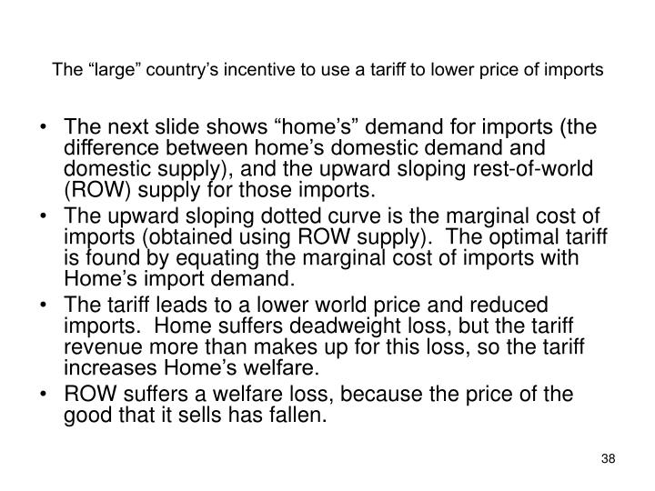 """The """"large"""" country's incentive to use a tariff to lower price of imports"""