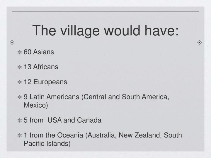 The village would have: