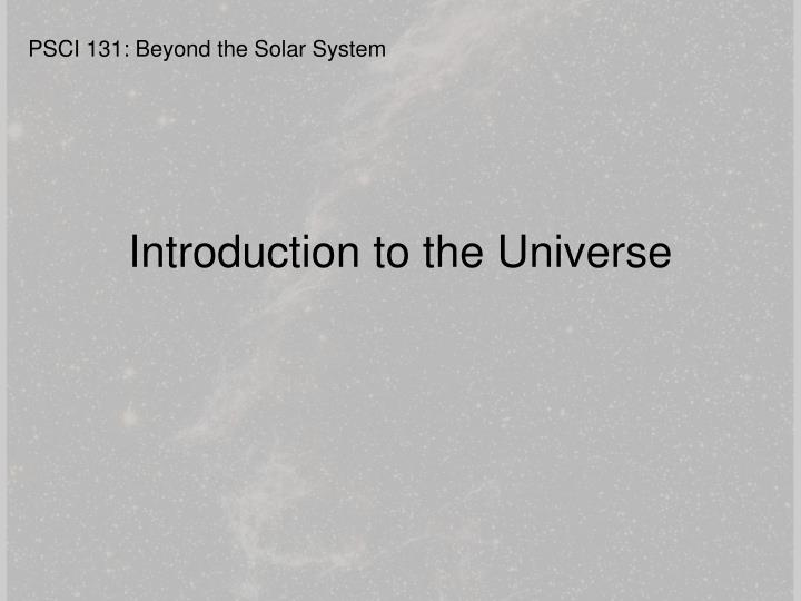 Introduction to the Universe