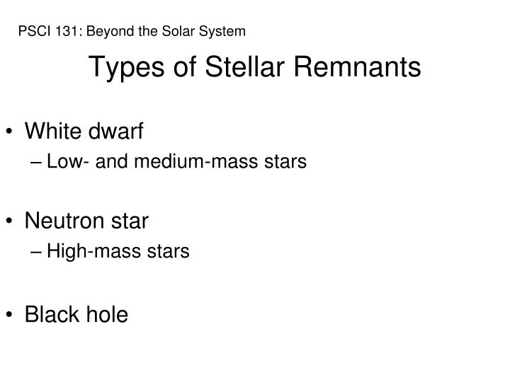 Types of Stellar Remnants