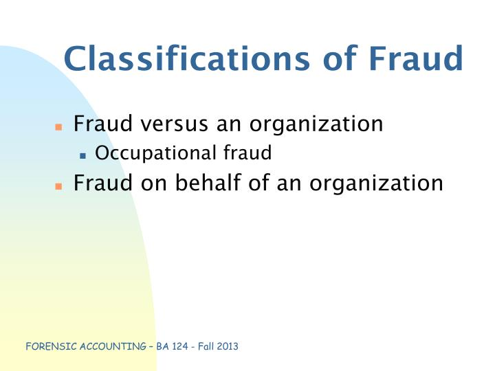 Classifications of Fraud