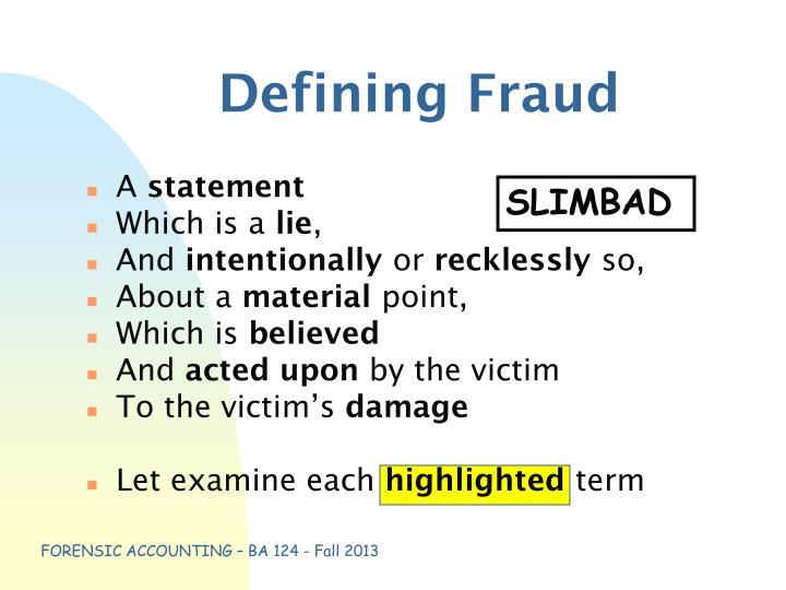 Defining Fraud