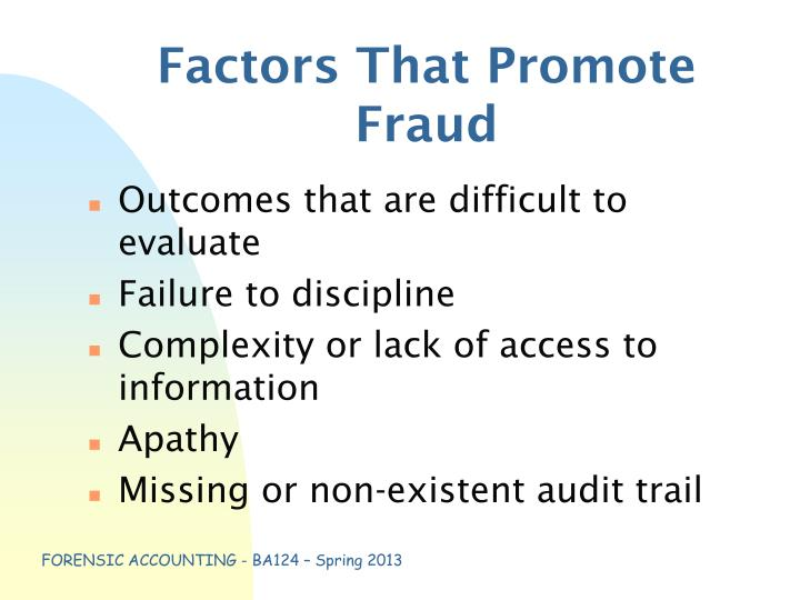 Factors That Promote Fraud