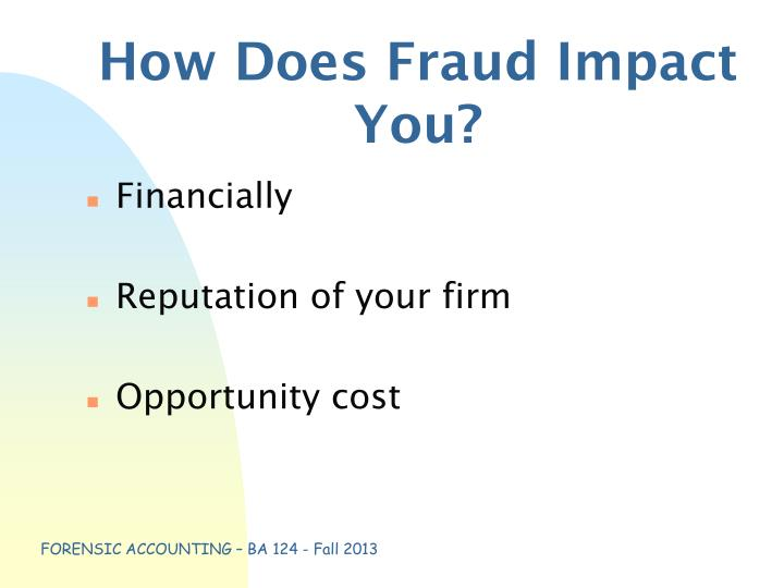 How Does Fraud Impact You?