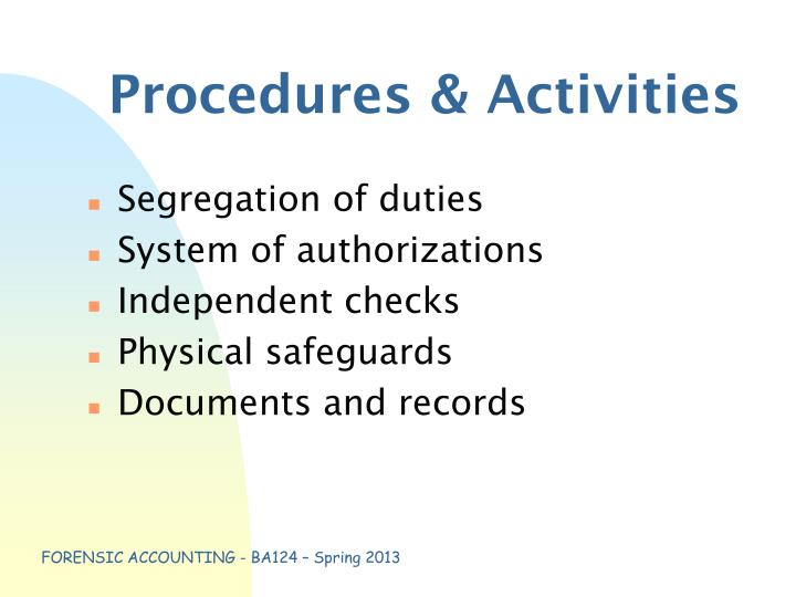 Procedures & Activities