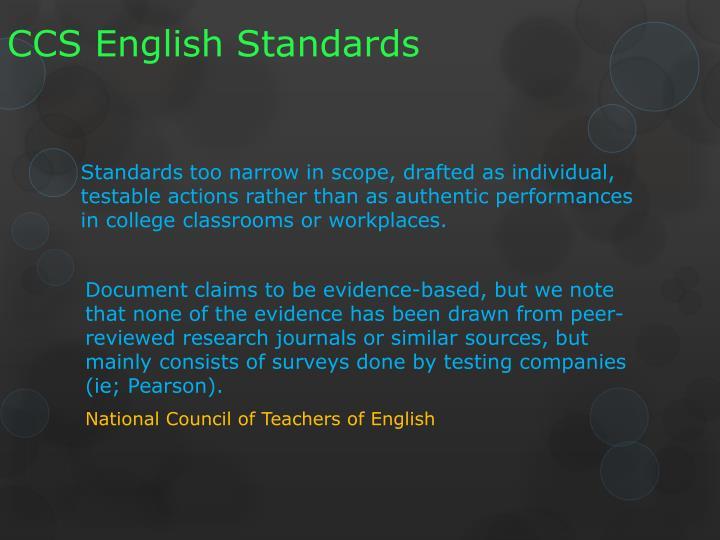 CCS English Standards