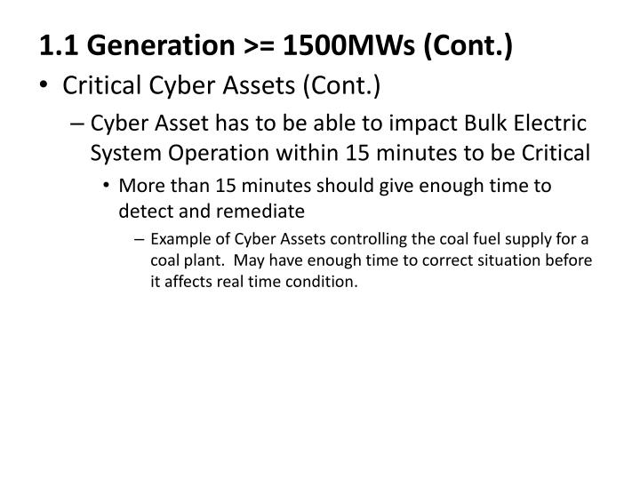 1.1 Generation >= 1500MWs (Cont.)