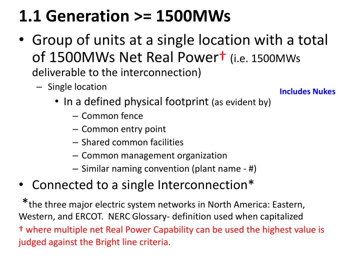 1.1 Generation >= 1500MWs