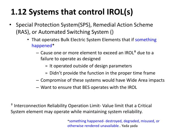 1.12 Systems that control IROL(s)