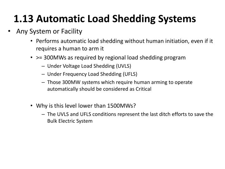 1.13 Automatic Load Shedding Systems