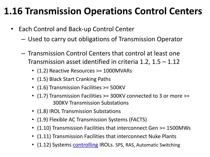 1.16 Transmission Operations Control Centers