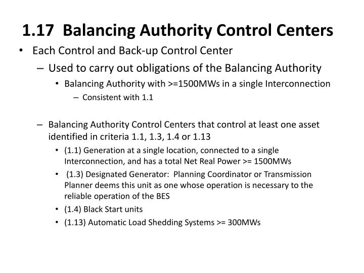 1.17  Balancing Authority Control Centers