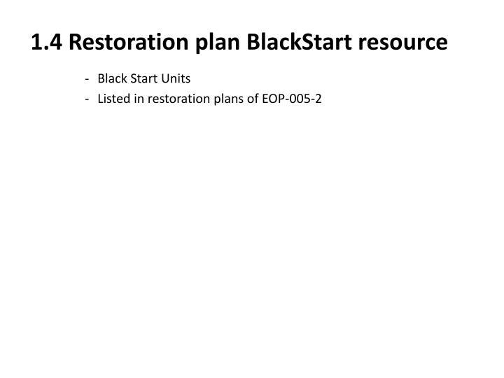 1.4 Restoration plan BlackStart resource