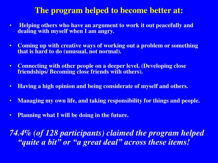 The program helped to become better at: