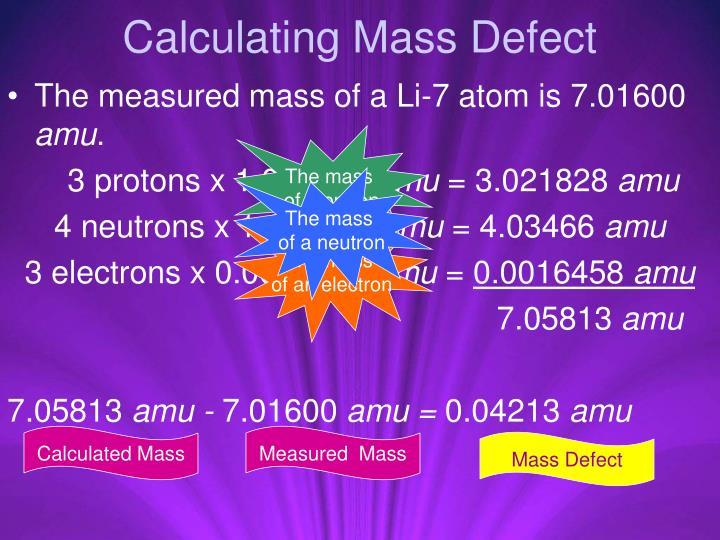 Calculating Mass Defect