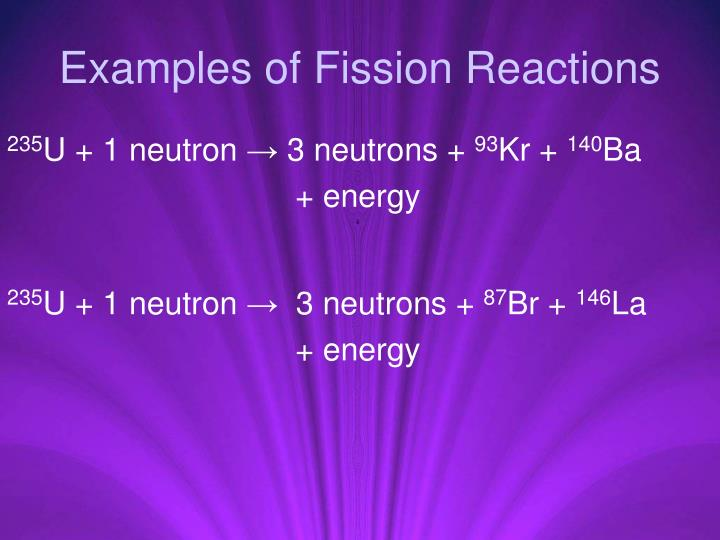 Examples of Fission Reactions