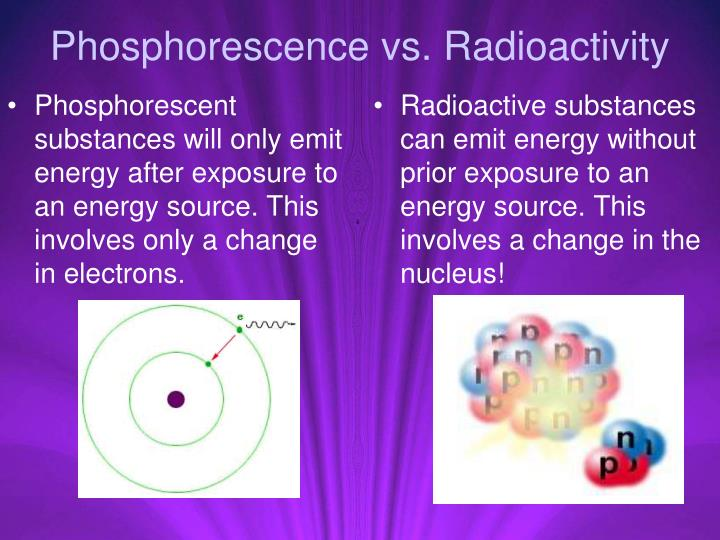Phosphorescent substances will only emit energy after exposure to an energy source. This involves only a change in electrons.