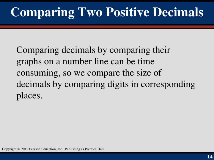 Comparing Two Positive Decimals