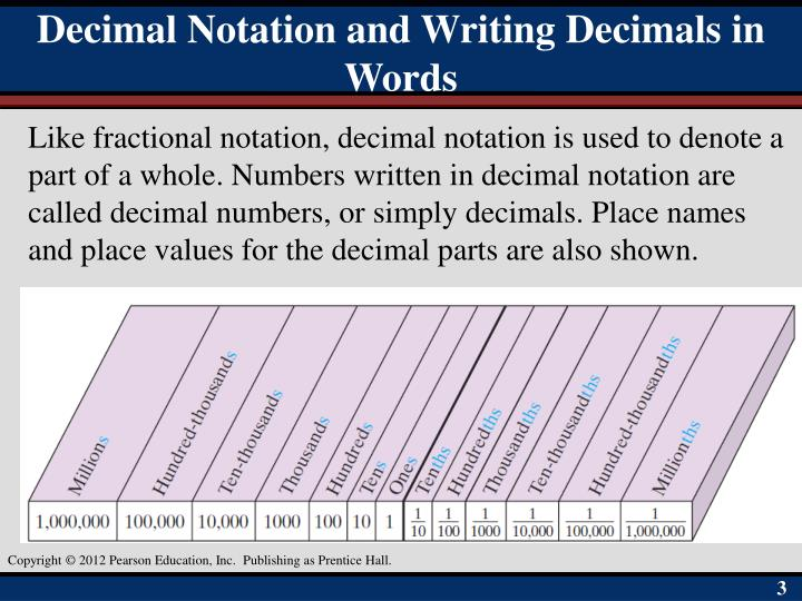 Decimal Notation and Writing Decimals in Words