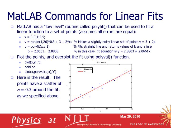 Matlab commands for linear fits