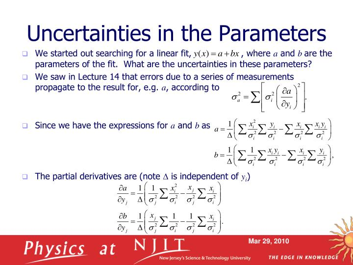 Uncertainties in the Parameters