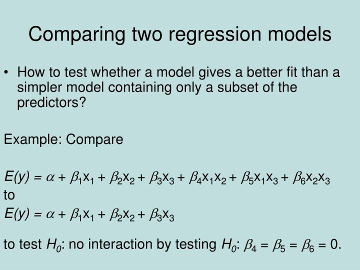 Comparing two regression models