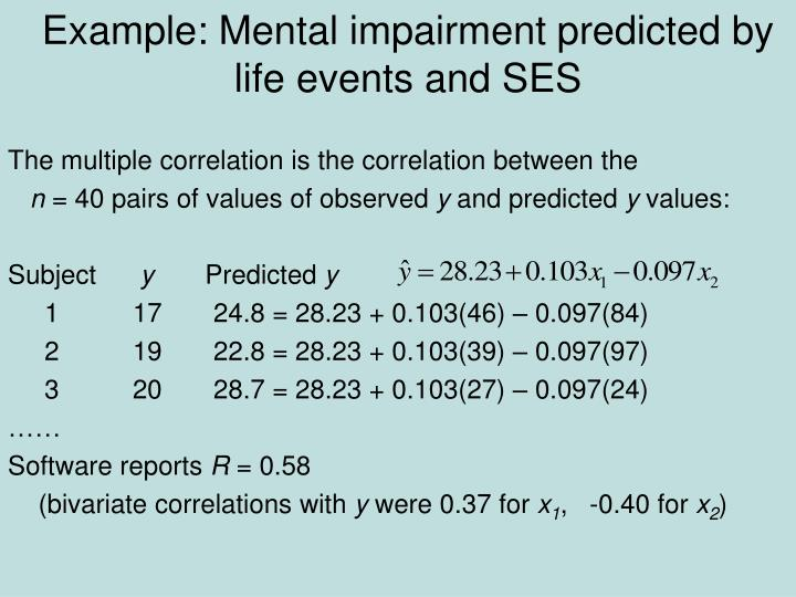 Example: Mental impairment predicted by life events and SES