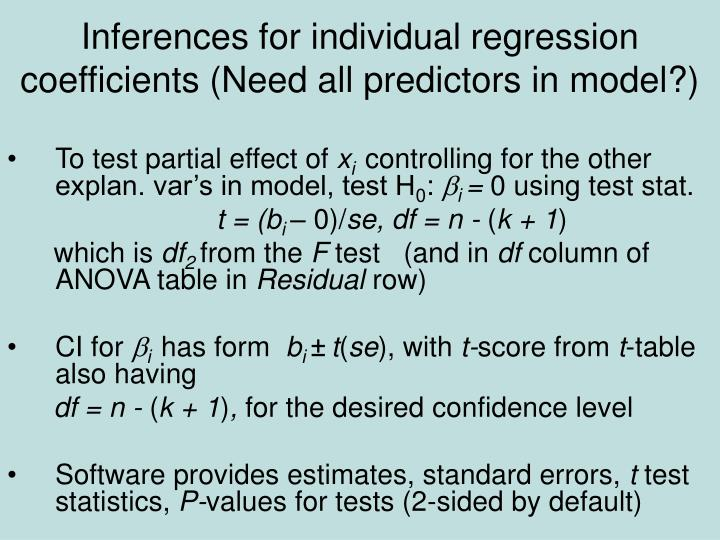 Inferences for individual regression coefficients (Need all predictors in model?)