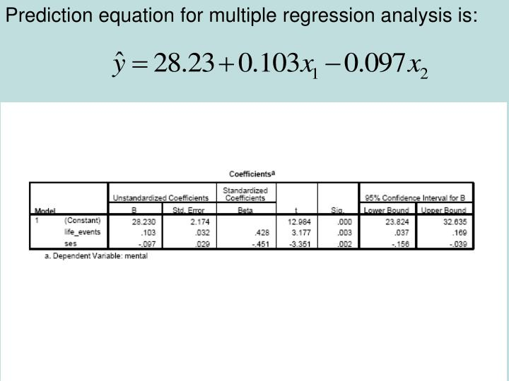 Prediction equation for multiple regression analysis is: