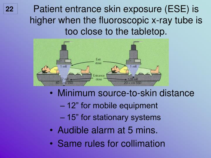 Patient entrance skin exposure (ESE) is higher when the fluoroscopic x-ray tube is too close to the tabletop.