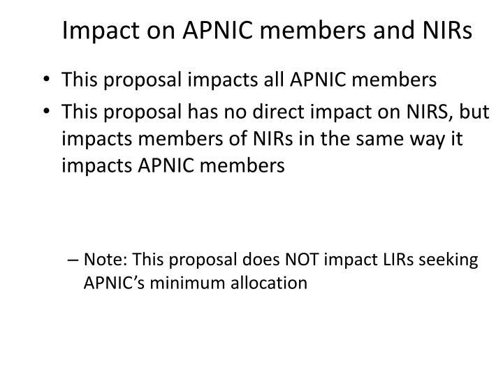 Impact on APNIC members and NIRs