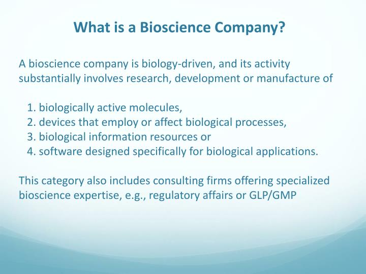 What is a Bioscience Company?