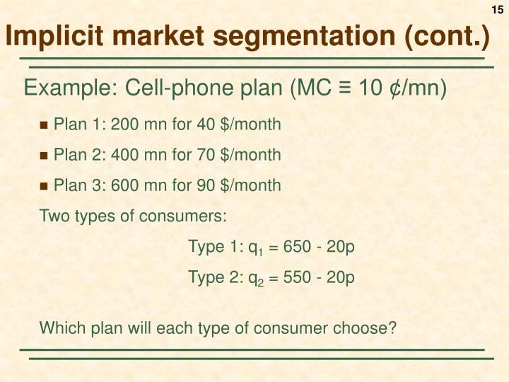 Implicit market segmentation (cont.)
