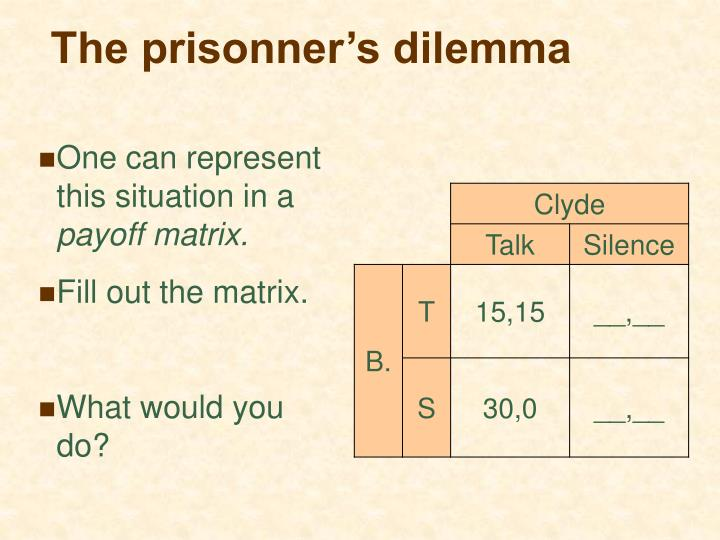The prisonner's dilemma