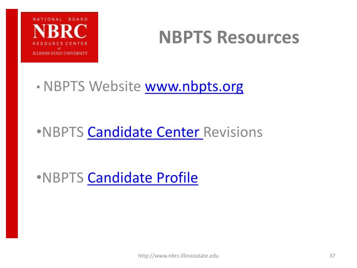 NBPTS Resources