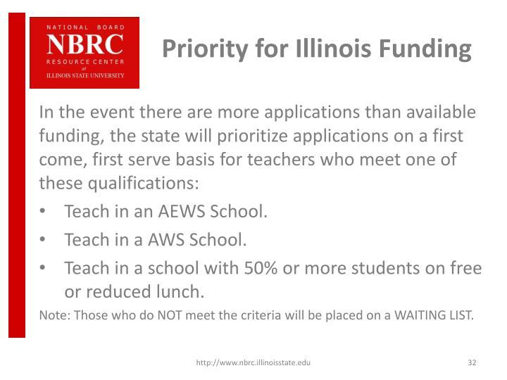 Priority for Illinois Funding