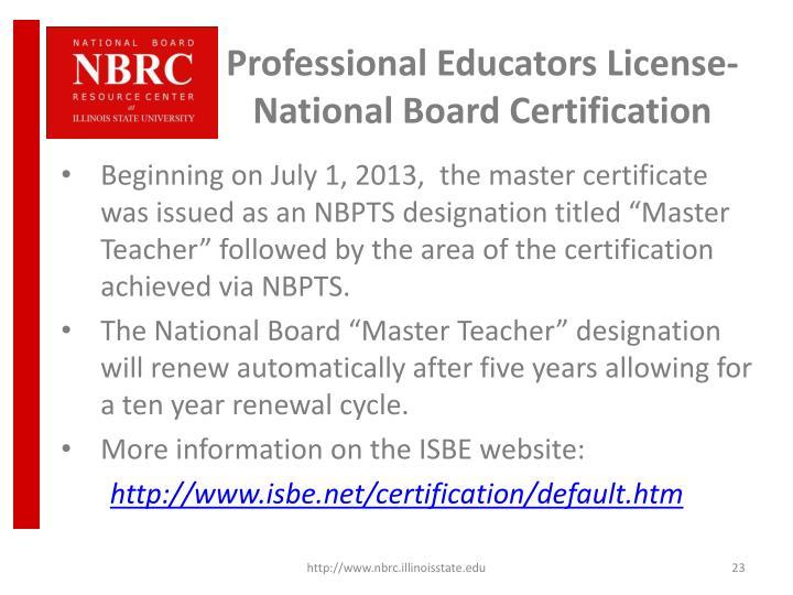 Professional Educators License-