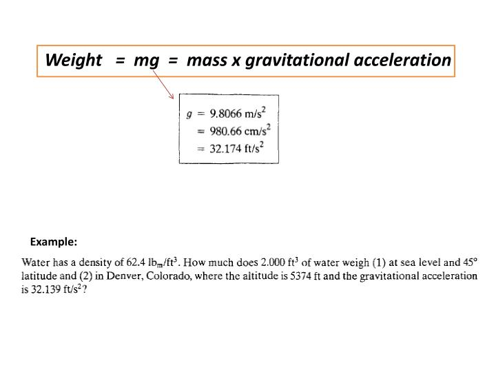 Weight   =  mg  =  mass x gravitational acceleration