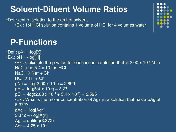 Soluent-Diluent Volume Ratios