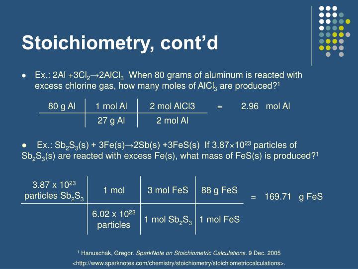 Stoichiometry, cont'd