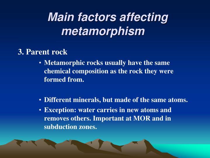 Main factors affecting metamorphism
