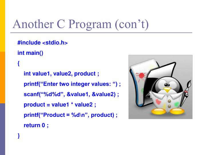 Another C Program (con't)