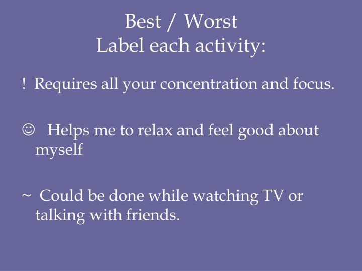 Best / Worst
