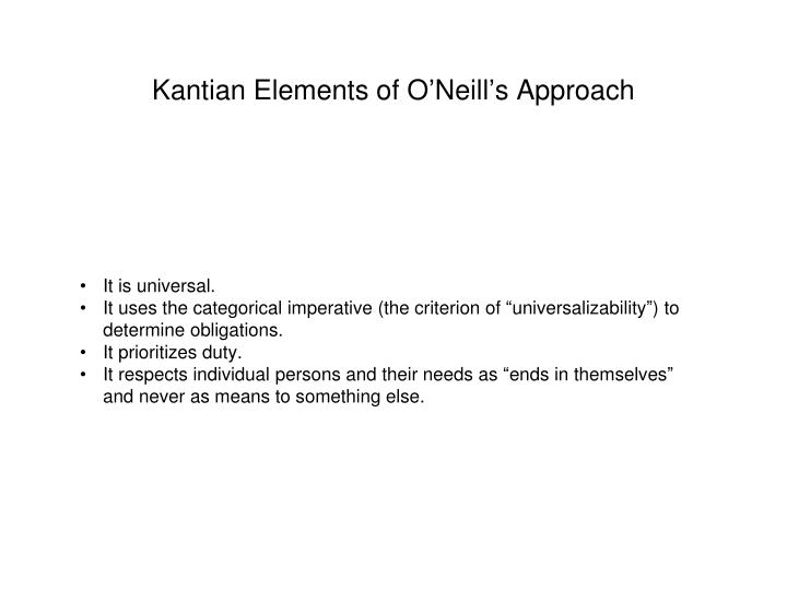 Kantian Elements of O