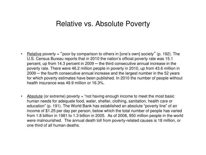 Relative vs absolute poverty