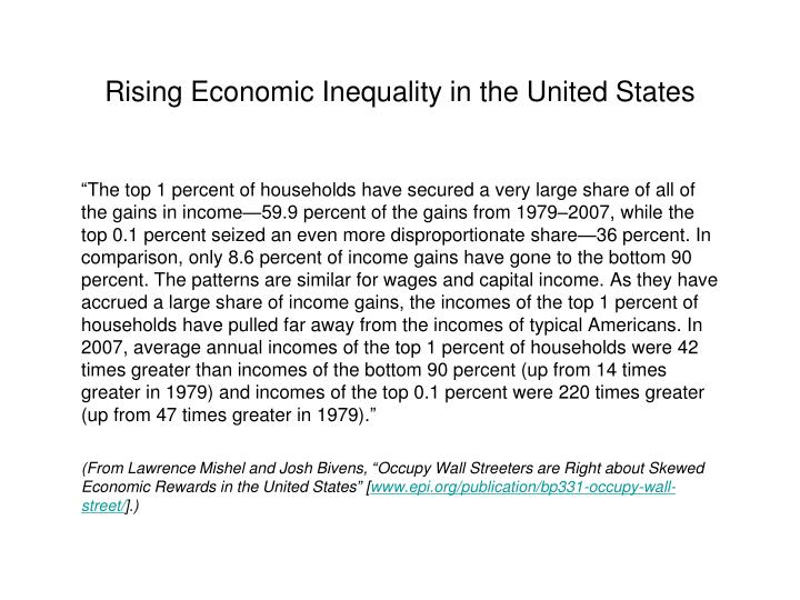 Rising Economic Inequality in the United States