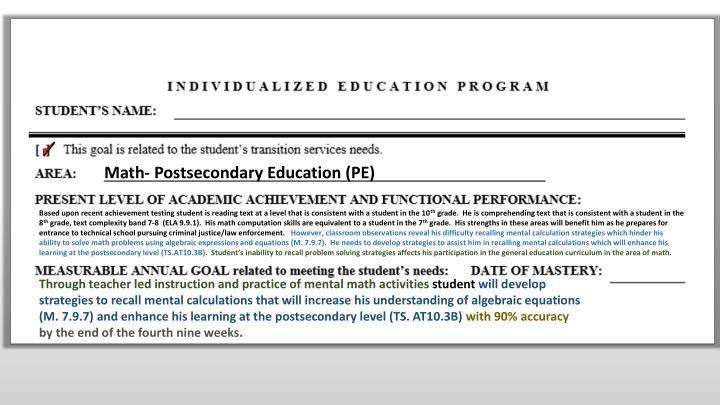 Math- Postsecondary Education (PE)