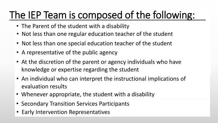 The IEP Team is composed of the following: