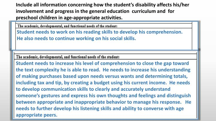 Include all information concerning how the student's disability affects his/her involvement and progress in the general education  curriculum and  for preschool children in age-appropriate activities.