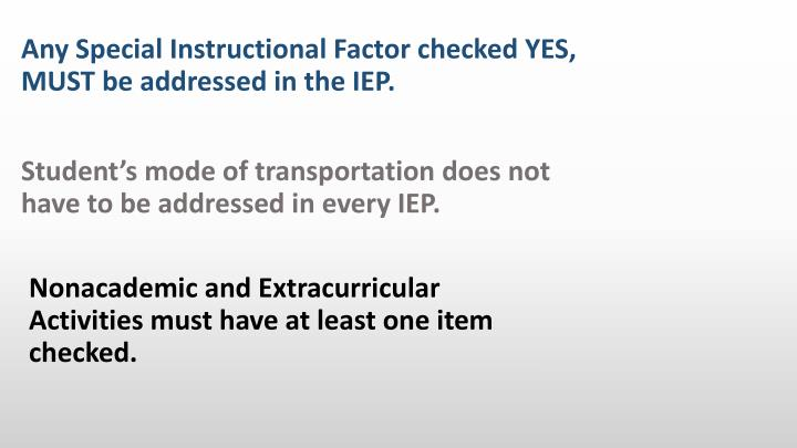 Nonacademic and Extracurricular Activities must have at least one item checked.